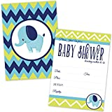Elephant Baby Shower Invitations for Boy - Lime Green and Blue Chevron Invites - (20 Count with Envelopes)
