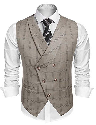Coofandy Men's V-neck Double Breasted Slim Fit Plaid Suit Vest Dress Waistcoat