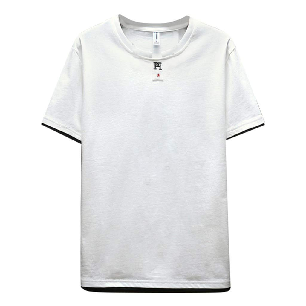 DATEWORK Mens Summer Fashionable Solid Colour Short Sleeve Comfortable Blouse
