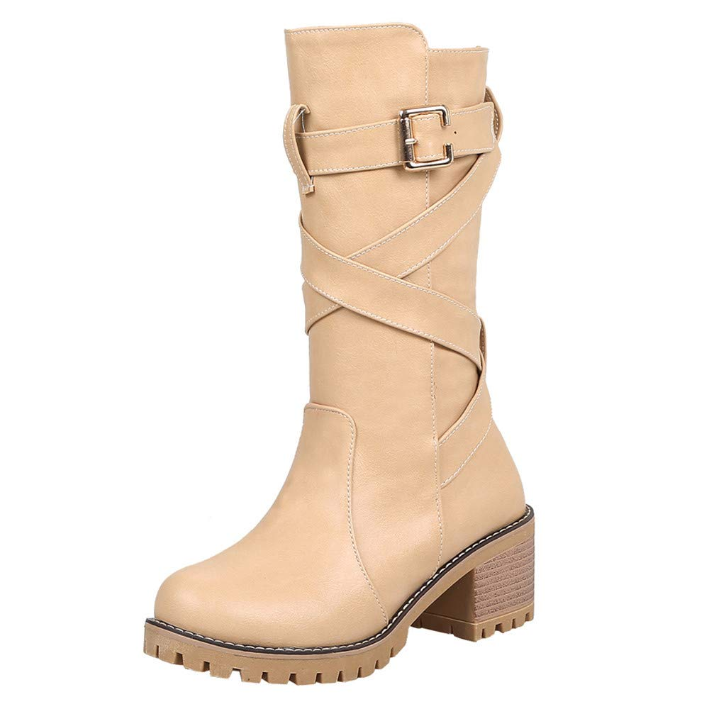 Amazon.com: YJYDADA Boots,Women Wedges Booties Middle Tube Leather Martin Boots Shoes Buckle Strap Boot: Sports & Outdoors