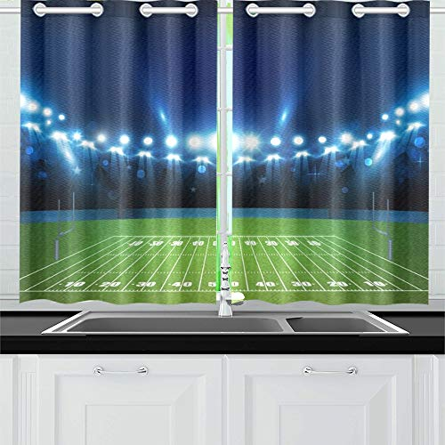 JTMOVING American Football Arena Field Bright Stadium Kitchen Curtains Window Curtain Tiers for Café, Bath, Laundry, Living Room Bedroom 26 X 39 Inch 2 Pieces