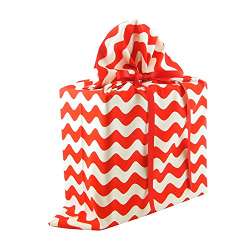 Reusable Fabric Gift Bag Red Stripes on White for Christmas, Valentine's Day or Any Occasion (Large 20 Inches Wide by 27 Inches High27)