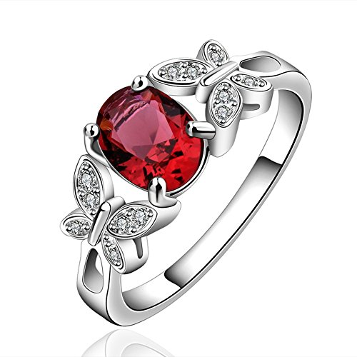 FENDINA Womens Silver Plated Cute Butterfly Manmade Oval Cut Ruby Solitaire Promise Engagement Wedding Ring Bridal Eternity Anniversary Band Her Valentins Day Gift