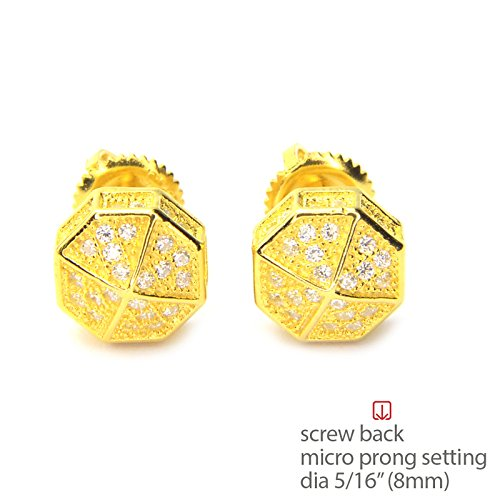 Mens Cubic Zirconia 3D Octagon Prong Setting Screw Back Earring BE 11622
