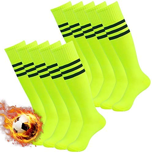 Football Socks Neon, 3street Unisex Cushion Sport Over The Calf Long Tube Football Socks Neon Yellow 10-Pairs,7-13 -