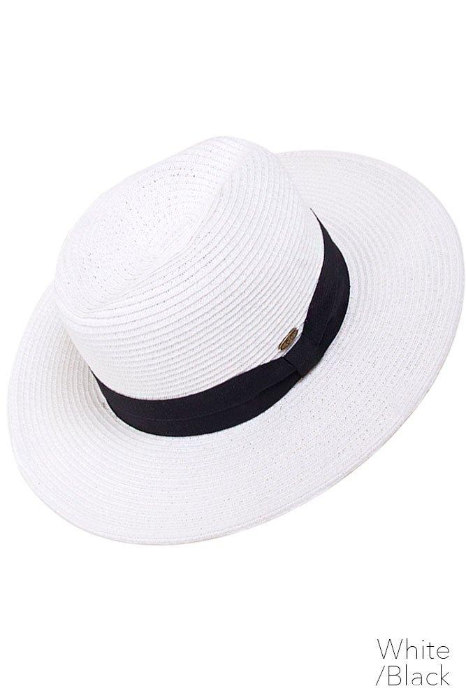ScarvesMe C.C Unisex Weaved Solid Color Band Panama Sun Hat