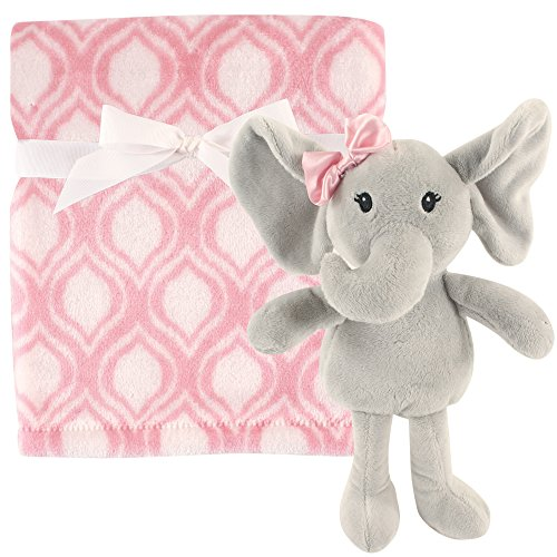 Hudson Baby Unisex Baby Plush Blanket with Toy, Pink Elephant 2 Piece, One ()