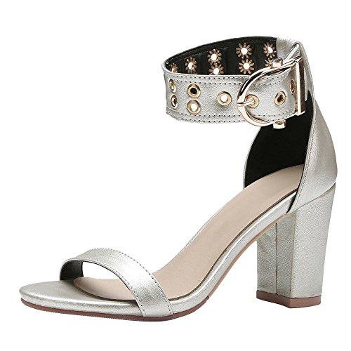 Mee Shoes Women's Chic Block Heel Buckle Sandals Silver ayPpPEc