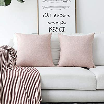 Groovy Home Brilliant Decorative Pillows Covers Lined Linen Cushion Covers For Bed Couch Set Of 2 18X18 Inches 45Cm Baby Pink Cjindustries Chair Design For Home Cjindustriesco