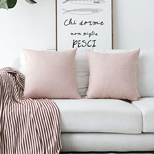 Home Brilliant Decorative Pillows Covers Lined Linen Cushion Covers for Bed Couch, Set of 2, 18x18 inches(45cm), Baby Pink from Home Brilliant