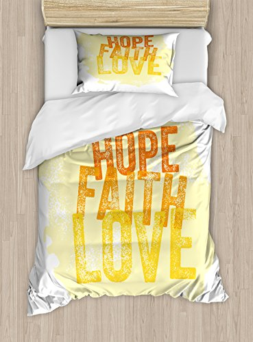 Ambesonne Hope Twin Size Duvet Cover Set, Inspirational Religious Hope Faith Love Quote with Grunge Letters, Decorative 2 Piece Bedding Set with 1 Pillow Sham, Orange Yellow and Pale Yellow by Ambesonne