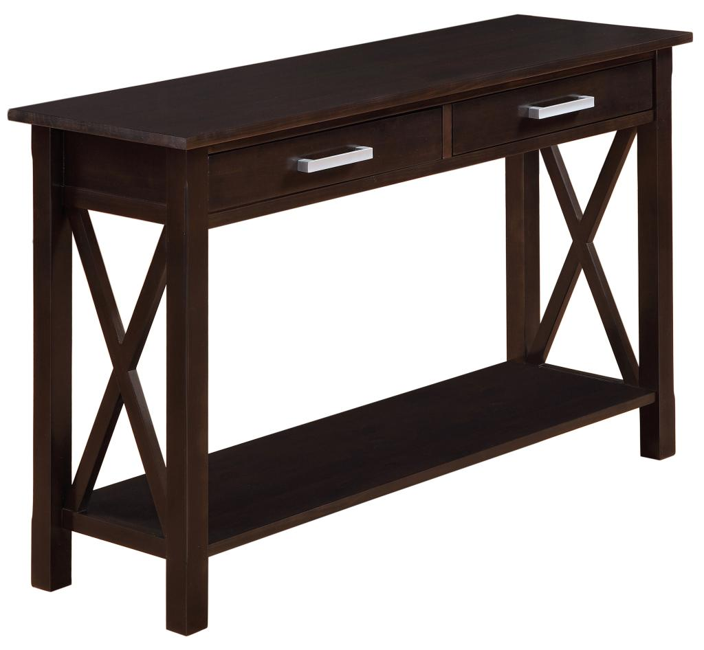 Simpli home kitchener console table dark for Sofa table 48 inches