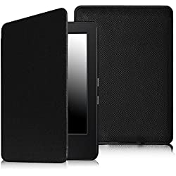 """Fintie SmartShell Case for Kindle 7th Gen - The Thinnest and Lightest Leather Cover for Amazon Kindle 6"""" Glare Free Touchscreen Display (7th Generation 2014 model), black"""