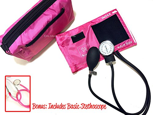 EMI # 300 Deluxe Aneroid Sphygmomanometer Blood Pressure Monitor Set with Adult Cuff and Carrying Case and Includes Basic Stethoscope (Pink Adult Stethoscope)