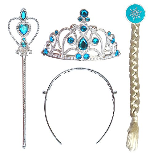 CQDY Elsa Tiara Crown Wig Wand Set of 3 Cosplay (Young Ellie Costume)