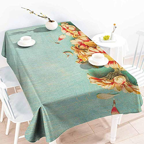 familytaste Shabby Chic,Rectangle tablecloths Bunch of Gerbera Flowers on a Turquoise Wooden Board Seasonal Nature Border 60