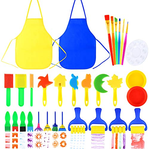 Tools Foam Brushes - Pllieay 32 Pieces Kids Painting Brushes Sponge Drawing Tools with Plastic Palettes, Paint Bowls, Sponge Foam Brushes and Waterproof Aprons for Children Doodle, Sharing Paints