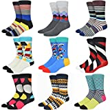 Welen 9 Pairs Men Color Dress Socks Funny Colorful Diamond Argyle High Fun Sock (Set 2)