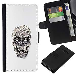 YiPhone /// Tirón de la caja Cartera de cuero con ranuras para tarjetas - Cráneo cinta Casette - Samsung Galaxy A3