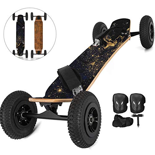 "Happybuy MountainBoard 39"" All-Terrain Longboard Skateboard Off Road Longboard with Bindings for Cruising Free-Style Downhill and Dancing (Earth)"