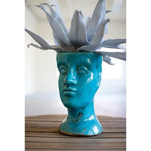 Kalalou Ceramic Head Planter, One Size, Turquoise