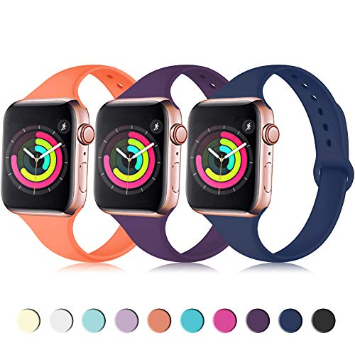 Zekapu Sport Band Compatible for Apple Watch 42mm 44mm, Soft Silicone Narrow Slim Sport Replacement Wristband for iWatch Series 4, Series 3, Series 2, Series 1 Women, Coral, Purple, Navy ()