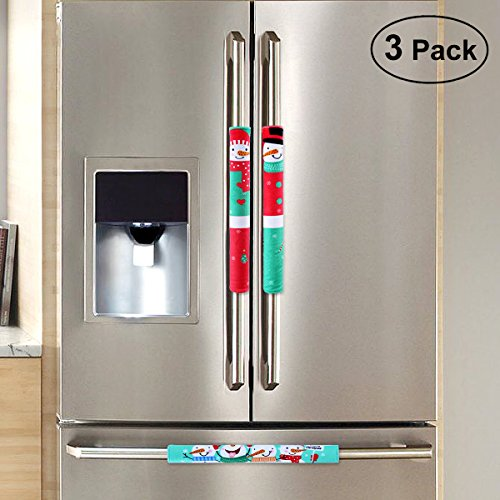 Unomor Christmas Decorations Idea Snowman Kitchen Appliance Handle Covers for Refrigerator, Door etc Set of 3