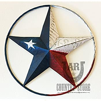 Texas Flag Painted Metal Star Wall Hanging Home Decor Rustic Western