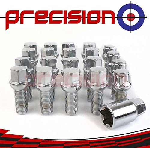 Precision 16 x Chrome Wheel Bolts Set with 4 x Locking Nuts for Śkoda Roomster with Genuine Alloy Wheels PN.SFP-16BM14R+B14R193