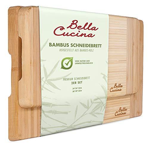 Bella Cucina© Premium Bambus Schneidebrett Set | 2 extra Dicke und stabile Küchenbretter aus Holz | Inklusive Tragegriff…
