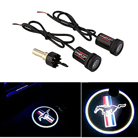 CHAMPLED For FORD- MUSTANG Car Auto Laser Projector Logo Illuminated Emblem Under Door Step courtesy Light Lighting symbol sign badge LED Glow (Mustang Door Projector Lights)