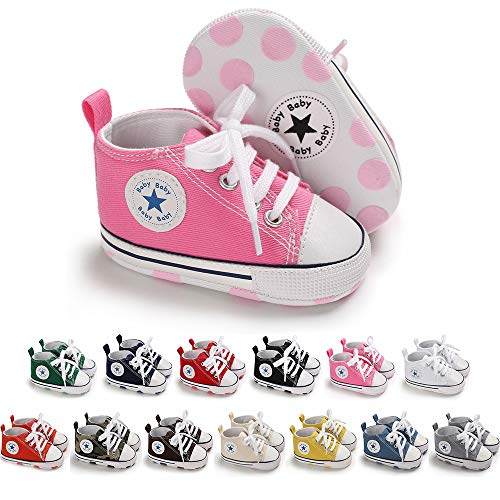 Save Beautiful Baby Girls Boys Canvas Sneakers Soft Sole High-Top Ankle Infant First Walkers Crib Shoes (Jordans New Girl)