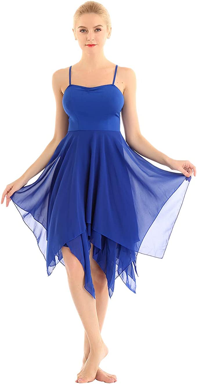 Choomomo Womens Adult Asymmetrical High-Low Dance Dress Lyrical Ballet Wrap Chiffon Skirt