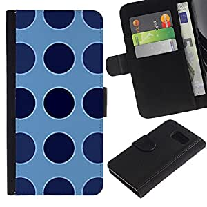 iKiki Tech / Cartera Funda Carcasa - Dot Blue Pattern Uniform - Samsung Galaxy S6 SM-G920