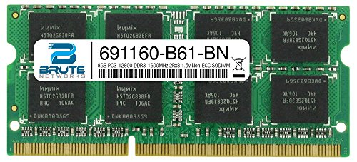 Brute Networks 691160-B61-BN - 8GB PC3-12800 DDR3-1600MHz 2Rx8 1.5v Non-ECC SODIMM (Equivalent to OEM PN # 691160-B61) by Brute Networks