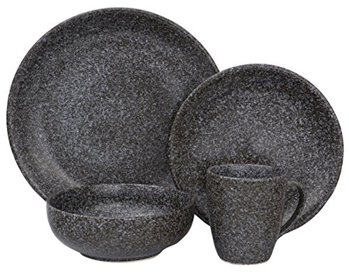 Bowls Sango Stoneware (Sango 3598BK800ACM24 Olympus 16-Piece Stoneware Dinnerware Set, Black)