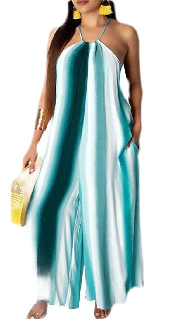 Womens Halter Neck Sleeveless Long Jumpsuit Loose Pants with Pocket