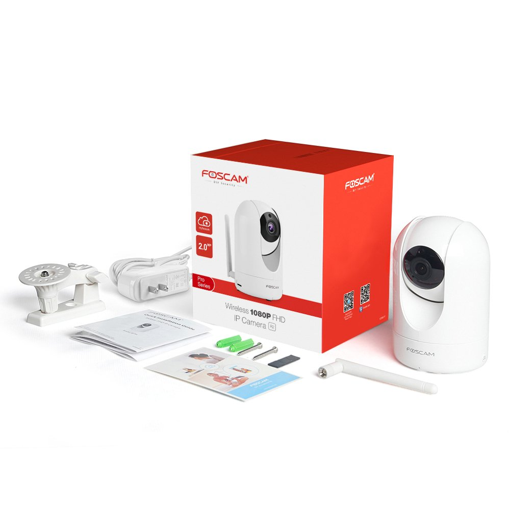 Foscam Home Security Camera, R2 Full HD 1080P WiFi IP Camera with Real-time 1080P Video at 25FPS, Pan Tilt 8x Digital Zoom, Motion Detection & Alert, Optional Cloud Service Available, White by Foscam