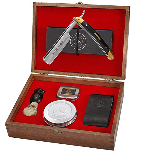 Straight Razor Kit - Amazing. Everything You Need in One Box - Cutthroat Shaving Sharp Edge Stainless Steel Blade + Leather Strop, Soap, Badger Friendly Brush Set, Balanced Wood Handle, Gift For Men
