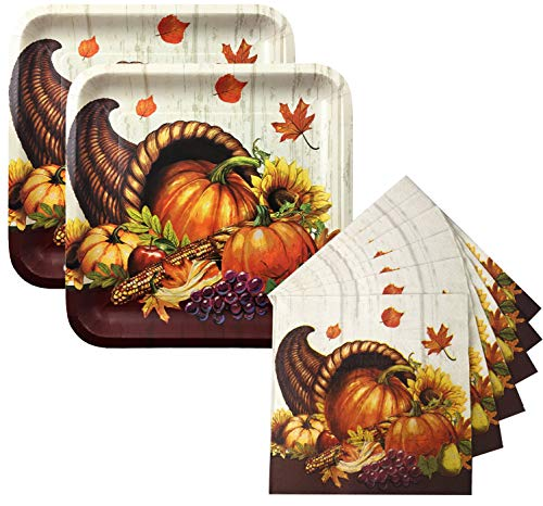 Thanksgiving Disposable Dinnerware Buffet Set for Your Holiday Party - Cornucopia Blessings - Sturdy Square Banquet Dinner Plates and Napkins (Service for 20)