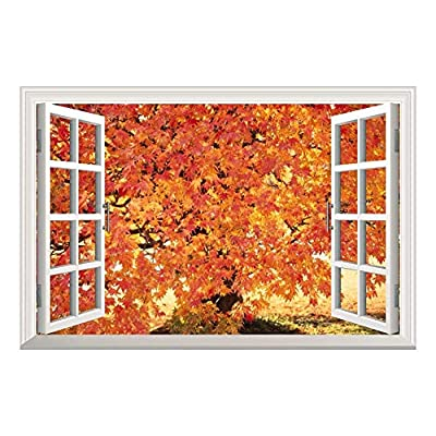 Handsome Design, Created Just For You, Red Maple Leaf in Autumn Open Window Mural Wall Sticker