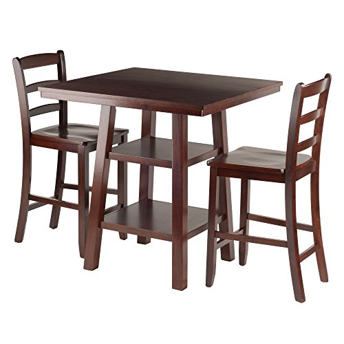 Winsome Wood Orlando 3 Piece Set High Table, 2 Shelves with 2 Ladder Back Stools (Furniture Wood Orlando)