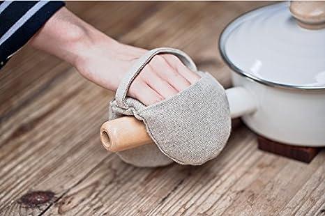 Nelipo 綿麻 鍋つかみ・ミトン 無印 和風 耐熱手袋 オーブン/電子レンジ (