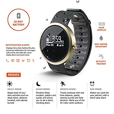 Jarv Advantage IPX7 Water Resistant Smart Watch, Fitness Activity Tracker, Sleep Monitor with Smart Notifications. Bluetooth Wireless Sync, Hi-Res OLED Display with 10 Day Battery - 40mm Size