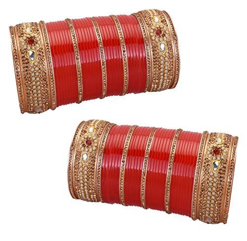 Active Chura Bangle Set 2.8 Red Maroon Rhinstone Bridal Dulhan Punjabi Wedding Party Engagement & Wedding
