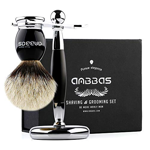 - Shaving Brush and Stand, Anbbas Silvertip Badger Hair Brush Set with Stainless Steel Shaving Stand for Double Edge Safety Razor Straight Razor,Black Resin Alloy Handle for Men
