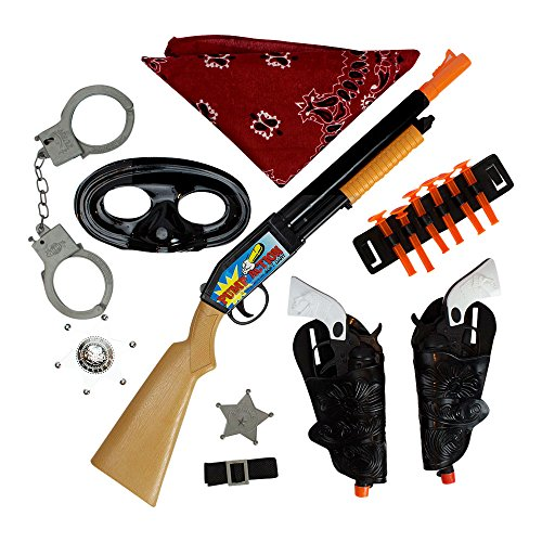 [Bundle Wild West Ranger 18-Piece Bundle Cowboy Dress-Up Accessories Includes Toy Pump-Action Shotgun with 6 Suction Tip Darts, Red Bandanna, 2 silver badges and 2 Click-Action Guns by Imprints] (Swat Costumes Kid)