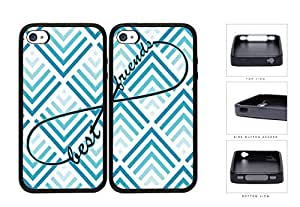 Blue Chevron Best Friends Set Rubber Silicone TPU Cell Phone Case Apple iPhone 4 4s