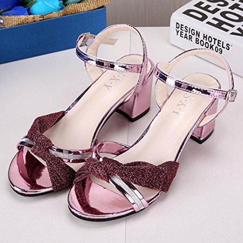 Ddlbiz Moda Donna Elegante Tacco Medio Sandali Scarpe Con Ciondoli Estate In Pelle Rosa