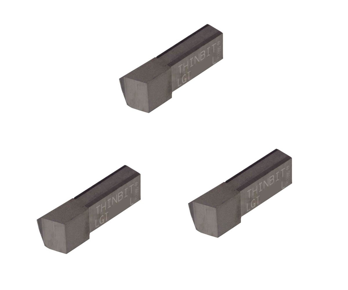 Aluminium and Plastic Without Interrupted Cuts Grooving Insert for Non-Ferrous Alloys Uncoated Carbide Sharp Corner THINBIT 3 Pack LGT094D5L 0.094 Width 0.235 Depth